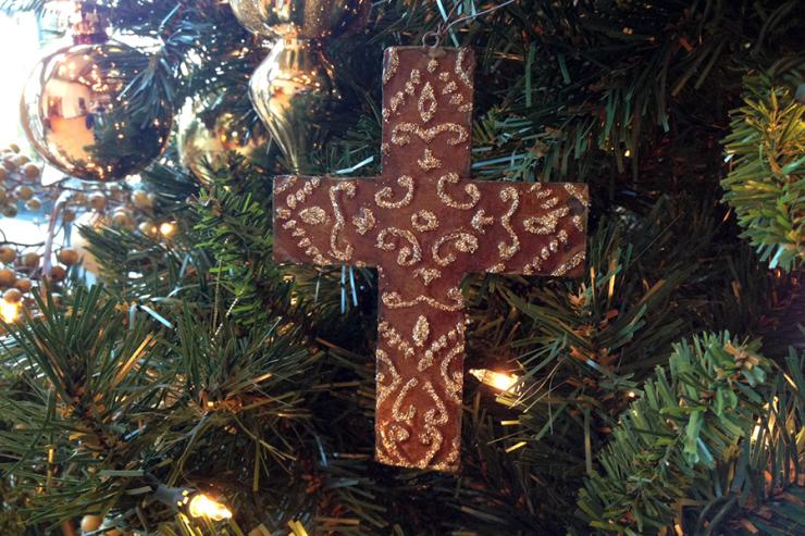 cross on Christmas tree